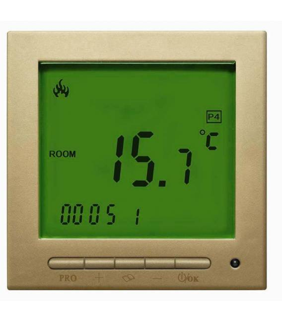 Digital Thermostat Gold Gelb 603PWGG *neue Software -Thermostat Fussbodenheizung