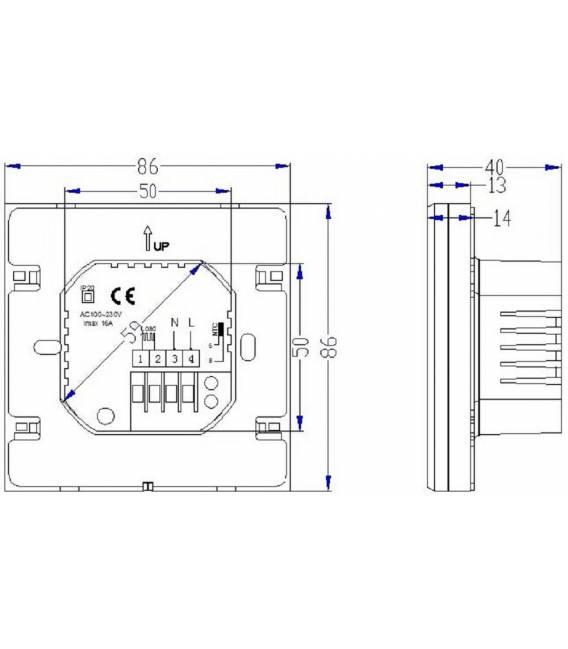 Raumthermostat Touch Fußbodenheizung 16A EL2 Weiss -Thermostat Fussbodenheizung